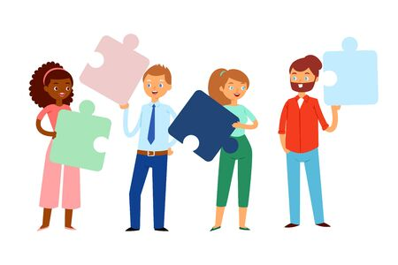 Composition, people holding puzzles in their hands, bright concept business team, design, cartoon style vector illustration. Motivation working in office, idea cooperation men, women problem solving