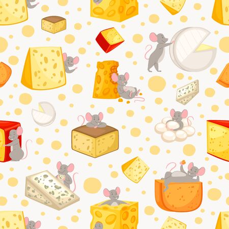 Seamless pattern sliced cheese and mice in cartoon style, pattern cute animal, food, design, flat style vector illustration. happy rat, funny drawing, background for printing on paper and fabric.