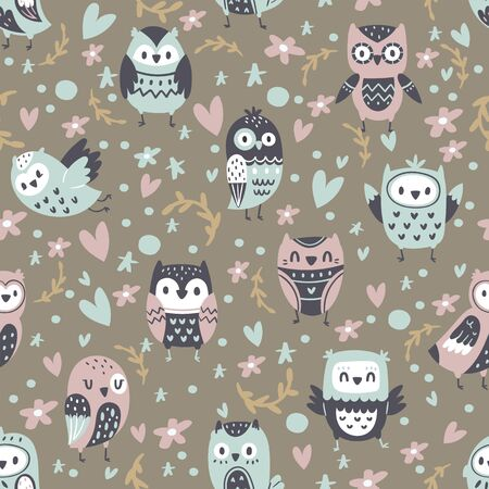 Cartoon funny owls, seamless pattern, cute animals, collection design charming birds, cartoon style vector illustration. Popular decorative ornament, stylish print element, used in textile industry