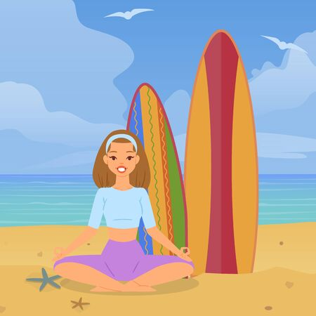 Joyful girl doing yoga beach, vacation ocean, colorful nature, yellow, hot sand, design, cartoon style vector illustration. Lotus position relaxation, surfboards, healthy sport, healthy lifestyle.