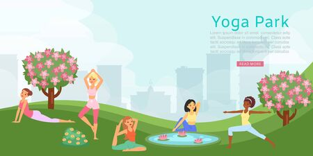 Lettering yoga park, banner ad, female fitness training, health people activities, design, cartoon style vector illustration. Outdoor recreation healthy lifestyle, gymnastics physical active exercises