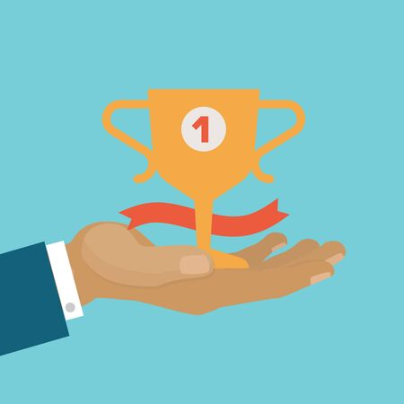 Victory concept, business winner cup, be first, victory achievement best prize, design, cartoon style vector illustration. Celebrating success, man s hand holds prize won in competition, golden trophy