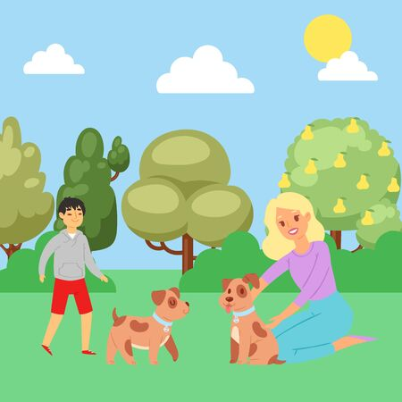 Summer park, boy playing with puppy, joyful man and happy dog in nature, outdoor, design, cartoon style vector illustration. Useful lifestyle, Good rest, dog, man s best friend, woman stroking pet.