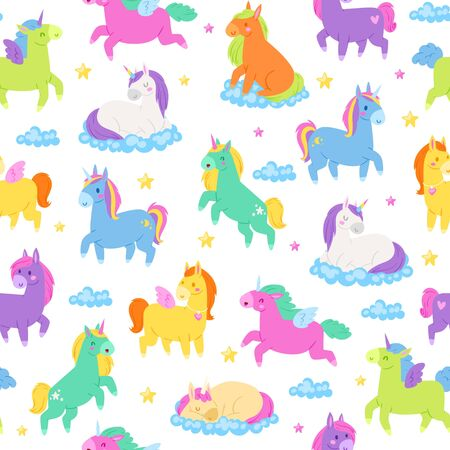 Cute unicorns, seamless patern, fantasy magic world, nice fairy animals, textile industry, cartoon style vector illustration. Printing on fabric, designer children s background, decorative art.
