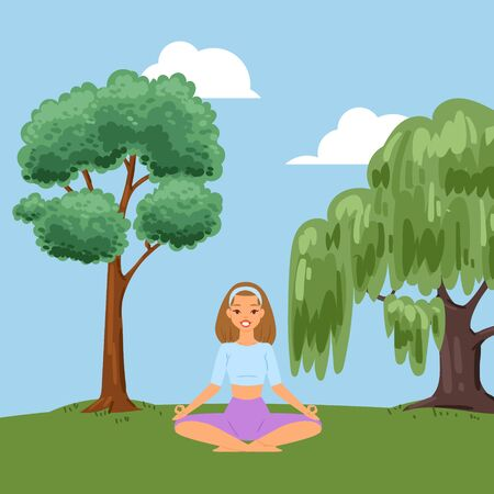 Background, relaxing fitness in forest, nature promotes health, doing summer yoga outdoors, cartoon style vector illustration. Calming exercise, lotus position for calm, healthy lifestyle concept.