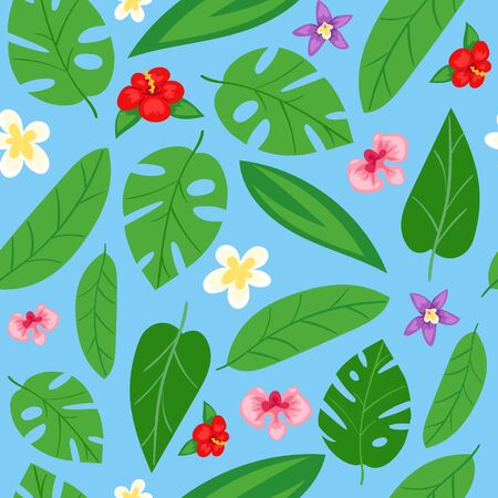 Summer, leafy, seamless pattern design, spring flowers, printing on paper and fabric, design, cartoon style vector illustration. Textural background, bright, green ornament, natural exotic decoration. Ilustrace