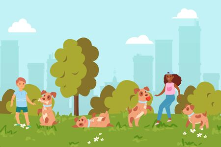 Summer, children play puppy in park, friendship, happy child and cheerful pet, design, cartoon style vector illustration. Happy childhood, activities people and pets, outdoor, green grass, blue sky.