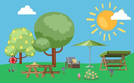 Summer, useful to relax in park nature, outdoors, colorful background, camping, design, cartoon style vector illustration. Picnic supplies near city, bright sunshine, blue sky, green trees and grass.