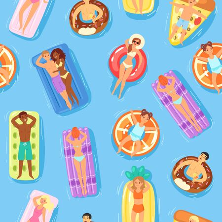 Seamless pattern, happy people and swimming on water, empty printable template, summer beach, design, cartoon vector illustration. Men, women and children have rest on vacation, time will relax well. Ilustrace