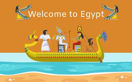 Inscription welcome to Egypt, bright banner, interesting journey, egyptian ancient culture, cartoon style vector illustration. historical monument, mythological poster, travel agency, antique drawing.