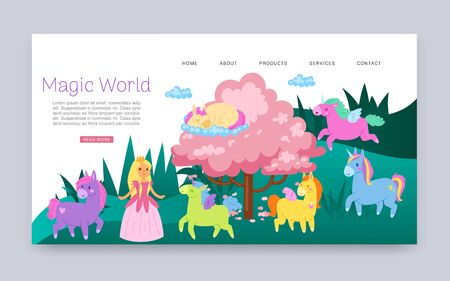 Inscription magical world, fabulous animals with wings, fantasy, web page children s, design, cartoon style vector illustration. Cute little princess, fairy, reference information, colorful poster