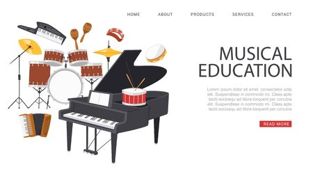 inscription musical education, banner ad, reference Information website, portal for musicians, cartoon style vector illustration. ollection musical instruments, acoustic sound isolated on white.