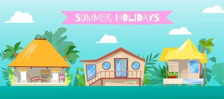 Summer holiday, at flat beach home vector illustration. Resort stilt house building background, cartoon bungalow cottage near sea. Hut at seaside landscape, vacation travel to ocean.