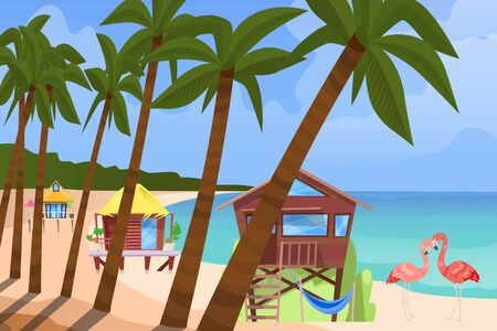 Beach bugalow, home background, vector illustration. Summer travel in house building at flat seaside resort, cottage hut near sea. Cartoon holiday vacation, rest at ocean and stilt wood house. Illustration