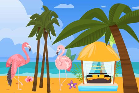 Beach ocean coast, summer resort background, vector illustration. Tropical travel at vacation, outdoor holiday in gazebo near water.Nature relax landscape, beautiful cabana at island. Ilustrace
