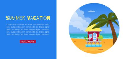 Summer vacation, holiday design vector illustration. Travel to sea beach, tropical nature banner. Bungalow house near ocean, exotic paradise with clean sand, sky and water at island, tourism poster. Ilustrace