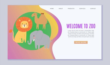 Zoo cartoon animal, vector illustration. Welcome to zoo landing banner, funny safari template poster with wildlife nature Elephant, lion, camel cartoon character at green background. Ilustrace
