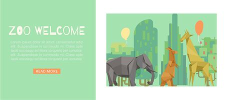 Welcome to zoo green cartoon banner, vector illustration. Origami animal at background, funny giraffe, kangaroo, elephant. Cute nature template web page, african wildlife and park tree. Ilustrace