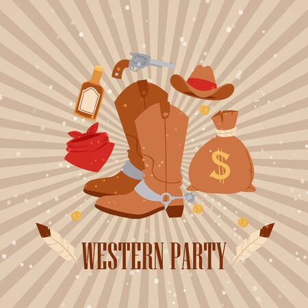 Western cowboy american party, vector illustration. Vintage rodeo banner design with boots, west grunge style template banner. Ranch texas hat for event festival, retro text invintation. Stock Illustratie