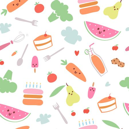 Food menu for kids seamless pattern, vector illustration. Fresh healthy cartoon fruit for baby wallpaper, cute colorful background. Cook lunch with vegetables for child, funny meal decoration.