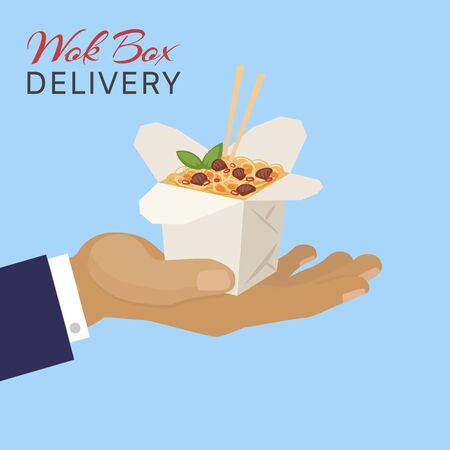 Food chinese wok box delivery, vector illustration. Container with asian fast food from restaurant, noodles cuisine lunch. Design fastfood with sticks, cafe takeaway meal in packaging.