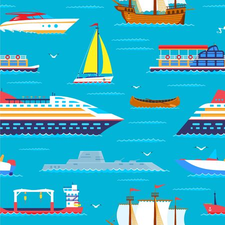 Sea travel seamless pattern cruiser in ocean, marine vacation nautical cartoon vector Illustration. Yacht ships or sailing boats for holiday vacations travel cruise in sea background. Ilustrace