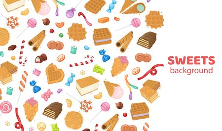 Dessert sweets candy background, vector illustration. Chocolate food with decoration, tasty colorful cake design, lollipop, cupcake and pastry. Sugar snack cafe shop cartoon wallpaper.
