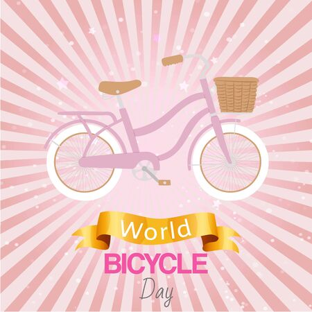 Bicycle world day poster at bright backgrond, vector illustration. Sport eco transportation, ride transport environment friendly banner. Celebration vehicle flat activity, healthy travel. Ilustrace