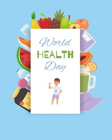 Health wold day, food background banner vector illustration. Lifestyle poster, activity and care. Fresh hearty nature fruits and product, global day for exersise and physical activity. Ilustrace
