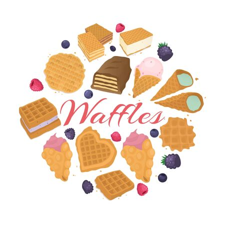 Waffle dessert food backgrond, vector illustration. Tasty lunch meal, wafer snack with cream at bakery, delicious breakfast. Sweet fresh belgian pastry, chocolate biscuit cartoon design. 矢量图像