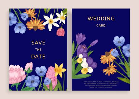 Wedding card invitation design, vector illustration. Template floral greeting in vintage frame, elegant pattern with flowers. Save celebration date retro border decoration, romantic set.