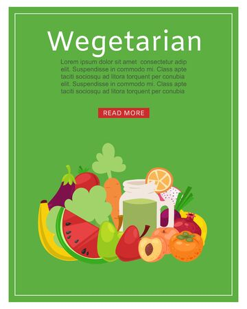 Vegan shop, healthy food banner vector illustration. Vegetarian diet cartoon, organic green market and natural nutrition. Bio farm with salad, fresh harvest flat store and vitamin product.