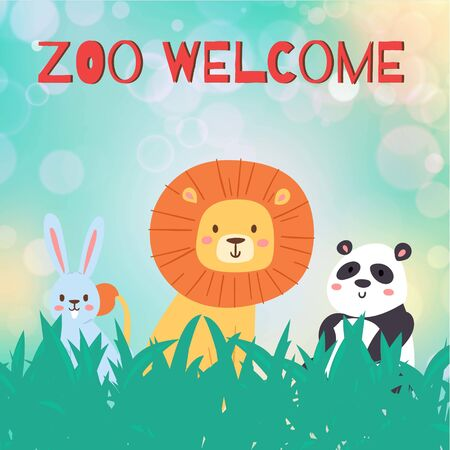 Zoo animal welcome, vector illustration. Funny wildlife background, template poster forest, cute lion, panda and hare cartoon. Flat flyer banner cute nature, park, jungle brochure invitation. Ilustrace