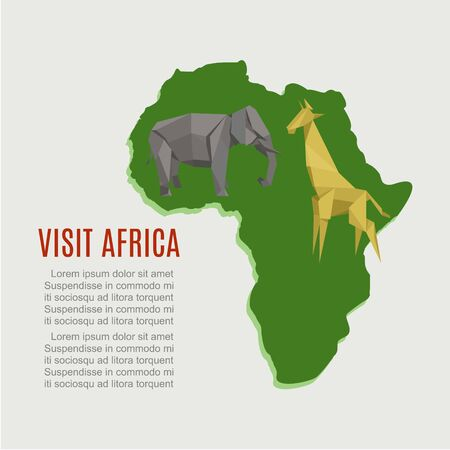 Visit Africa, map for travel background, vector illustration. Wild safari at continent, wildlife concept design. Nature and geography, cartoon origami giraffe and elephant ethnic symbol.