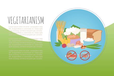 Vegetarianism healthy green food banner, vector illustration. Fresh natural design web page, organic diet on colorful background. Vegan nutrition, cooking vegetable and eat cuisine dish.