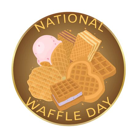 National waffle day, food concept vector illustration. Sweet element design, bakery dessert snack background. Delicious breakfast, fresh brown texture and tasty banner card poster.