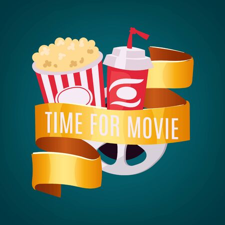 Movie time in cinema, entertainment vector illustration. Film with popcorn box, cinematography video striped concept. Pop poster with drink, snack and television retro tape, banner.