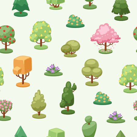 Trees plant element seamless pattern, vector illustration. Decorative ecology creative style, flat seasonal growth landscape. Green and colorful foliage, cartoon leaf and flowers on bush.