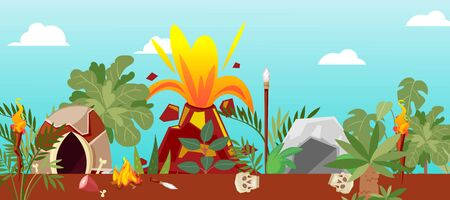 Tribal cave life near cartoon volcano, vector illustration. Landscape with mountain nature, stone house and plant environment. Prehistoric scene with lava, volcano crater eruption, natural danger.