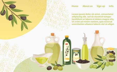 Natural organic olive oil concept landing page, extra virgin bottle butter cartoon illustration. Website online banner page.