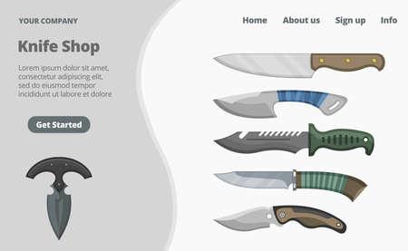 Online knife shop landing page concept flat illustration. Internet store, hunting bladed cold weapon. Press get started sign.