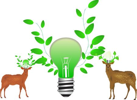 Deers ecological friendly conceptual image Vector
