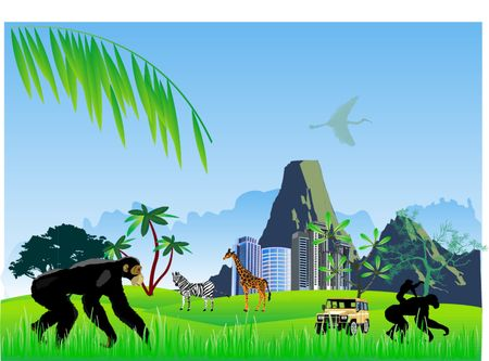 Chimpanzee and other african animals on landscape Vector