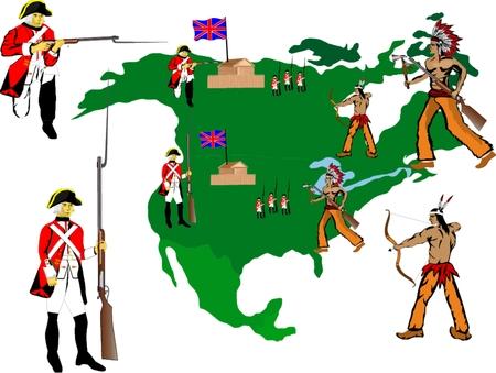 brit�nico: Os soldados brit�nicos contra �ndios em 18 do s�culo