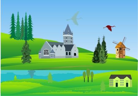green hills: Castle in coast of river on green hills illustration Illustration