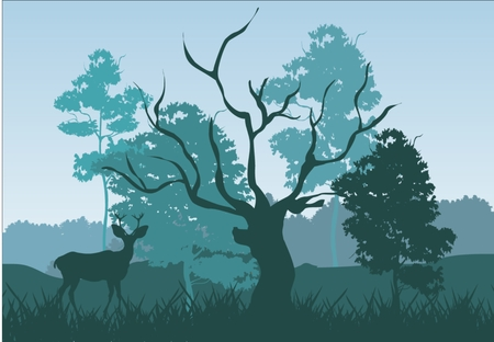 Natural landscape silhouette: deer under trees trees and grass silhouettes colors with blue shadows old tree without foliage.