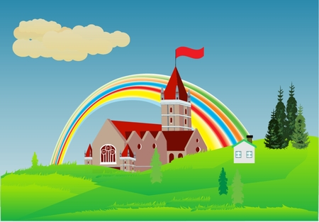 Castle on green hills and rainbow Vector