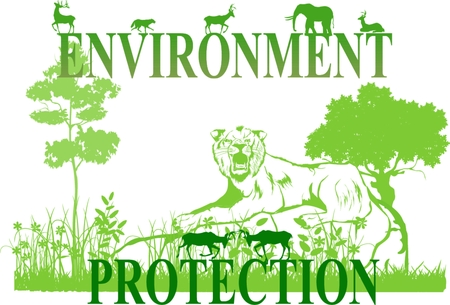 green environment: Environment protection vector illustration, lion laying on stone, grass and trees all in green colors