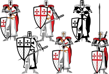 crusades: Crusaders figures with full eguipment and weapon swords and spears in their hands illustration. Illustration