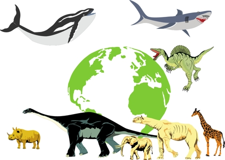 biggest animal: Biggest animals in history of earth vector illustration. Blue whale, brontosaurs, giraffe, elephant and other Illustration